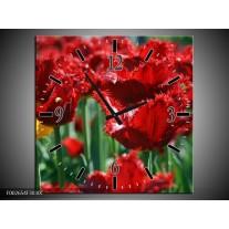 Wandklok op Canvas Tulp | Kleur: Rood, Groen, Geel | F002654C