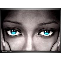 Glas schilderij Ogen | Grijs, Zwart, Blauw