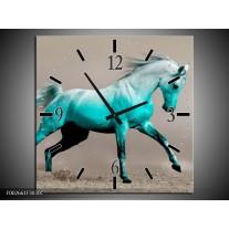 Wandklok op Canvas Paard | Kleur: Groen, Grijs | F002661C