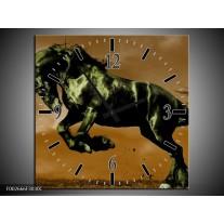 Wandklok op Canvas Paard | Kleur: Bruin, Groen, Zwart | F002666C