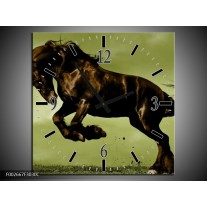 Wandklok op Canvas Paard   Kleur: Bruin, Groen, Zwart   F002667C