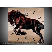 Wandklok op Canvas Paard | Kleur: Bruin, Grijs, Zwart | F002669C