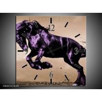 Wandklok op Canvas Paard | Kleur: Paars, Grijs, Zwart | F002671C