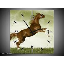 Wandklok op Canvas Paard | Kleur: Bruin, Groen, Zwart | F002673C