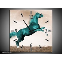 Wandklok op Canvas Paard | Kleur: Groen, Sepia | F002674C