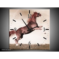 Wandklok op Canvas Paard | Kleur: Sepia, Bruin, Rood | F002676C