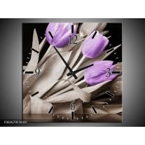 Wandklok op Canvas Tulp | Kleur: Paars, Zwart, Grijs | F002679C