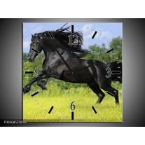 Wandklok op Canvas Paard | Kleur: Zwart, Groen, Blauw | F002685C