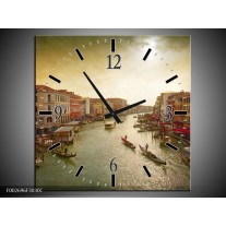 Wandklok op Canvas Venetie | Kleur: Grijs, Geel | F002696C