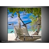 Wandklok op Canvas Vakantie | Kleur: Blauw, Wit, Groen | F002697C