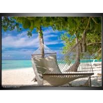 Glas schilderij Vakantie | Blauw, Wit, Groen