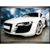 Glas schilderij Audi | Zwart, Wit, Blauw