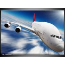 Glas schilderij Vliegtuig | Wit, Blauw, Rood
