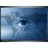 Glas schilderij Wereld | Blauw, Grijs