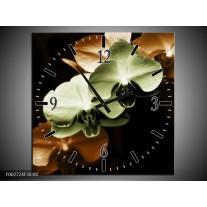Wandklok op Canvas Orchidee   Kleur: Groen, Bruin, Zwart   F002724C