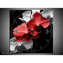Wandklok op Canvas Orchidee   Kleur: Rood, Zwart, Grijs   F002728C