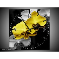 Wandklok op Canvas Orchidee | Kleur: Geel, Zwart, Grijs | F002729C