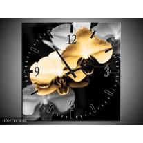 Wandklok op Canvas Orchidee | Kleur: Oranje, Zwart, Grijs | F002730C