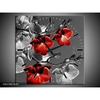 Wandklok op Canvas Orchidee | Kleur: Zwart, Rood, Grijs | F002748C