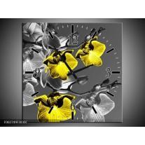 Wandklok op Canvas Orchidee   Kleur: Zwart, Geel, Grijs   F002749C