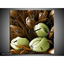 Wandklok op Canvas Orchidee | Kleur: Bruin, Groen, Zwart | F002753C