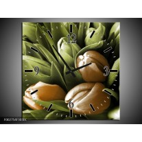 Wandklok op Canvas Orchidee | Kleur: Bruin, Groen, Zwart | F002754C