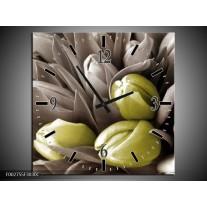 Wandklok op Canvas Orchidee | Kleur: Bruin, Groen, Zwart | F002755C