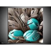 Wandklok op Canvas Orchidee | Kleur: Grijs, Blauw, Zwart | F002757C