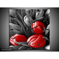 Wandklok op Canvas Orchidee | Kleur: Grijs, Rood, Zwart | F002758C