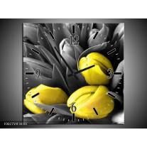 Wandklok op Canvas Orchidee | Kleur: Grijs, Geel, Zwart | F002759C