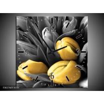 Wandklok op Canvas Orchidee | Kleur: Grijs, Geel, Zwart | F002760C