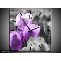 Wandklok op Canvas Tulpen | Kleur: Paars, Grijs, Zwart | F002761C