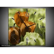 Wandklok op Canvas Tulpen | Kleur: Bruin, Groen, Zwart | F002764C