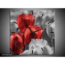 Wandklok op Canvas Tulpen | Kleur: Rood, Grijs, Zwart | F002768C