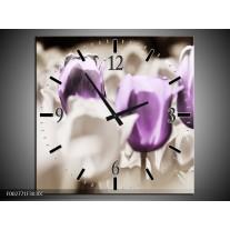 Wandklok op Canvas Tulpen | Kleur: Paars, Grijs, Wit | F002771C