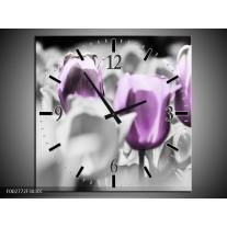 Wandklok op Canvas Tulpen | Kleur: Paars, Grijs, Wit | F002772C