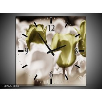 Wandklok op Canvas Tulpen | Kleur: Bruin, Groen, Wit | F002775C
