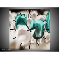 Wandklok op Canvas Tulpen | Kleur: Blauw, Grijs, Wit | F002777C