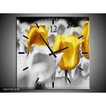 Wandklok op Canvas Tulpen | Kleur: Geel, Grijs, Wit | F002778C
