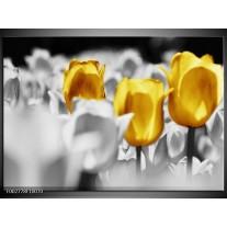 Glas schilderij Tulpen | Geel, Grijs, Wit