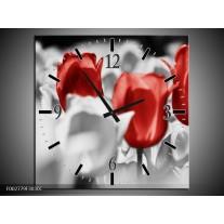 Wandklok op Canvas Tulpen | Kleur: Rood, Grijs, Wit | F002779C