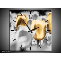 Wandklok op Canvas Tulpen | Kleur: Goud, Grijs, Wit | F002780C