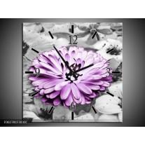 Wandklok op Canvas Gerbera | Kleur: Paars, Grijs | F002781C