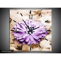 Wandklok op Canvas Bloem | Kleur: Paars, Bruin | F002782C