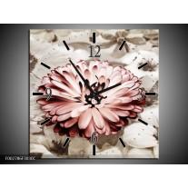 Wandklok op Canvas Gerbera | Kleur: Sepia, Bruin, Rood | F002786C