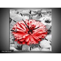 Wandklok op Canvas Gerbera | Kleur: Grijs, Rood | F002788C