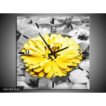 Wandklok op Canvas Gerbera | Kleur: Geel, Zwart | F002789C