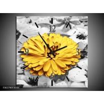 Wandklok op Canvas Bloem | Kleur: Geel, Grijs | F002790C