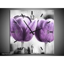 Wandklok op Canvas Tulpen   Kleur: Paars, Grijs, Wit   F002792C