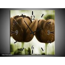Wandklok op Canvas Tulpen | Kleur: Bruin, Groen | F002793C